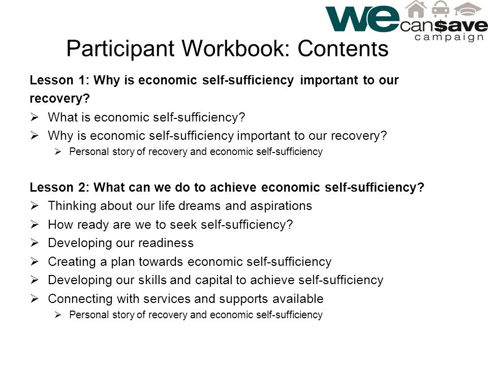 Participant Workbook: Contents Lesson 1: Why is economic self-sufficiency important to our recovery.