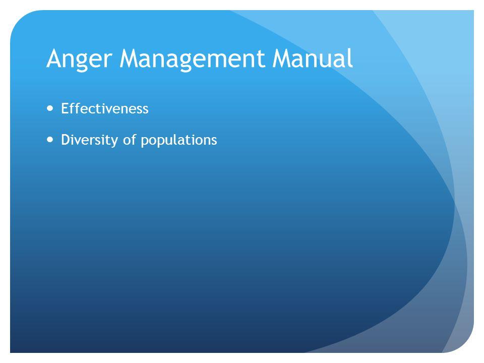 Anger Management Manual Effectiveness Diversity of populations