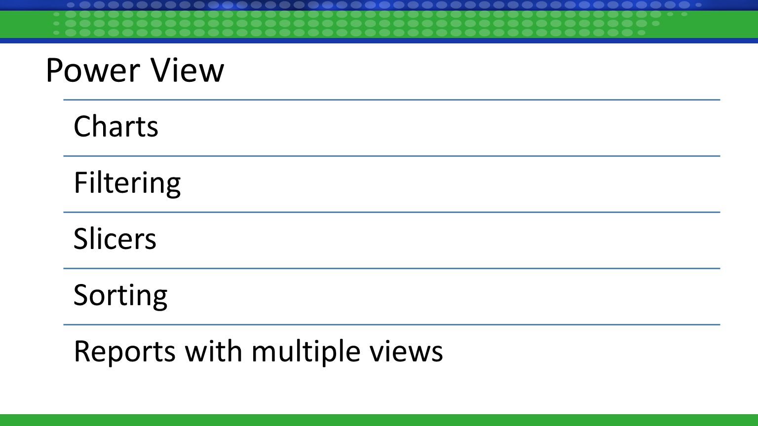 Power View Charts Filtering Slicers Sorting Reports with multiple views