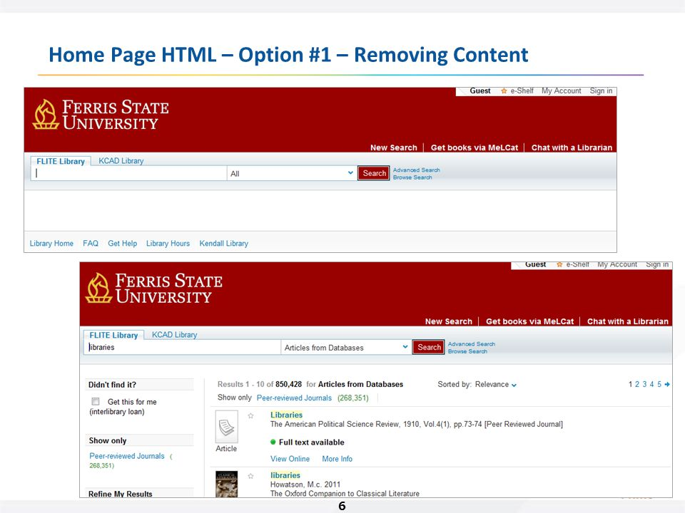 6 Home Page HTML – Option #1 – Removing Content