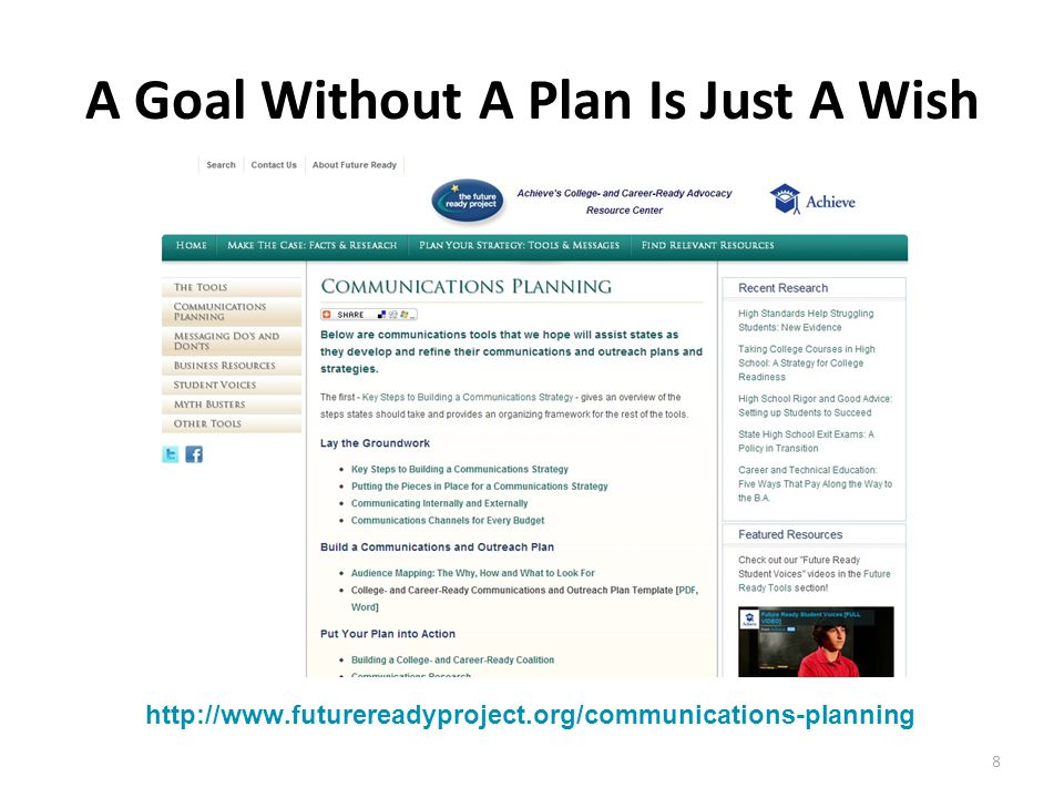 8 A Goal Without A Plan Is Just A Wish http://www.futurereadyproject.org/communications-planning