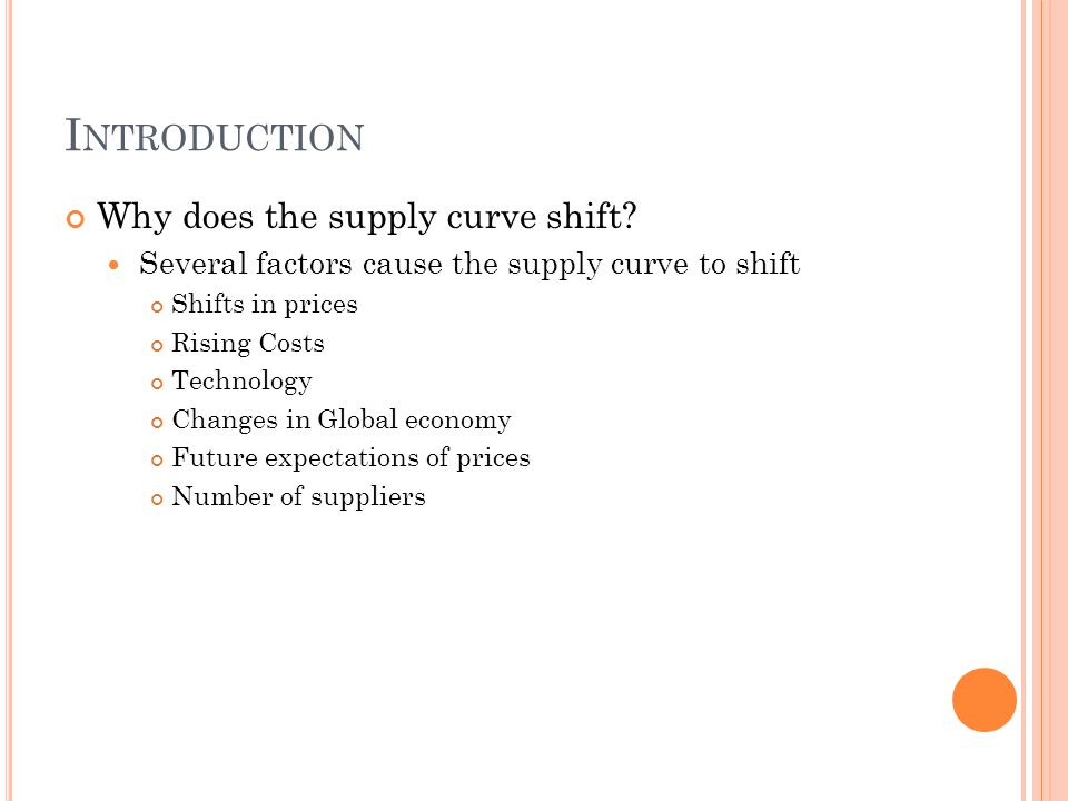 I NTRODUCTION Why does the supply curve shift? Several factors cause the supply curve to shift Shifts in prices Rising Costs Technology Changes in Glo