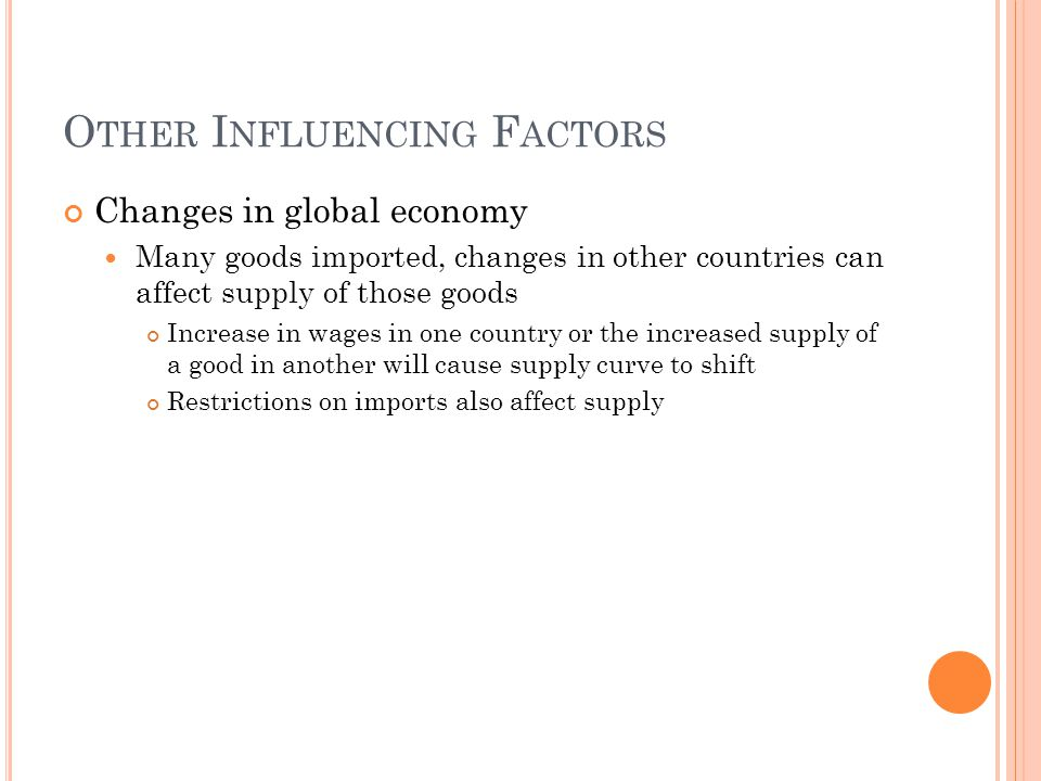 O THER I NFLUENCING F ACTORS Changes in global economy Many goods imported, changes in other countries can affect supply of those goods Increase in wages in one country or the increased supply of a good in another will cause supply curve to shift Restrictions on imports also affect supply