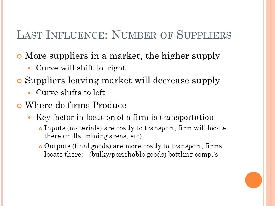 L AST I NFLUENCE : N UMBER OF S UPPLIERS More suppliers in a market, the higher supply Curve will shift to right Suppliers leaving market will decreas