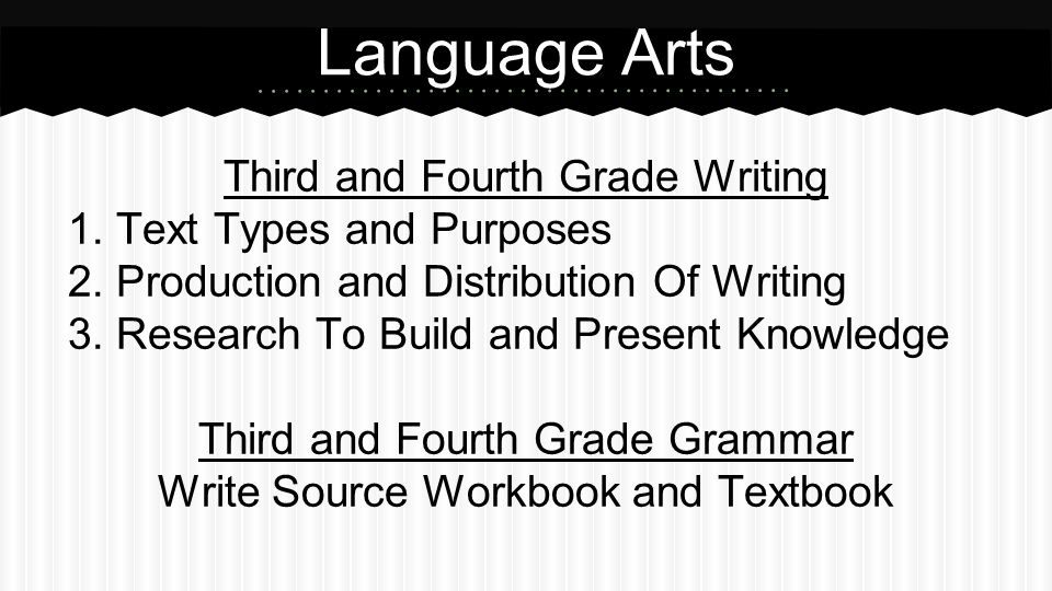 Third and Fourth Grade Writing 1.Text Types and Purposes 2.Production and Distribution Of Writing 3.Research To Build and Present Knowledge Third and Fourth Grade Grammar Write Source Workbook and Textbook Language Arts