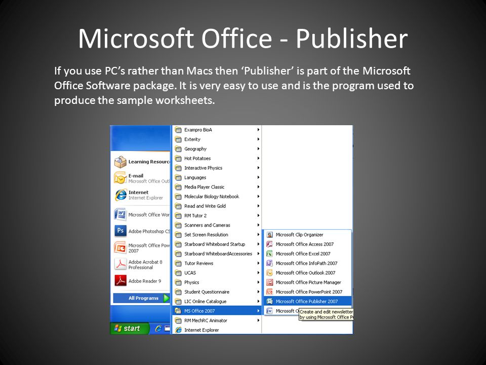 Microsoft Office - Publisher If you use PC's rather than Macs then 'Publisher' is part of the Microsoft Office Software package.