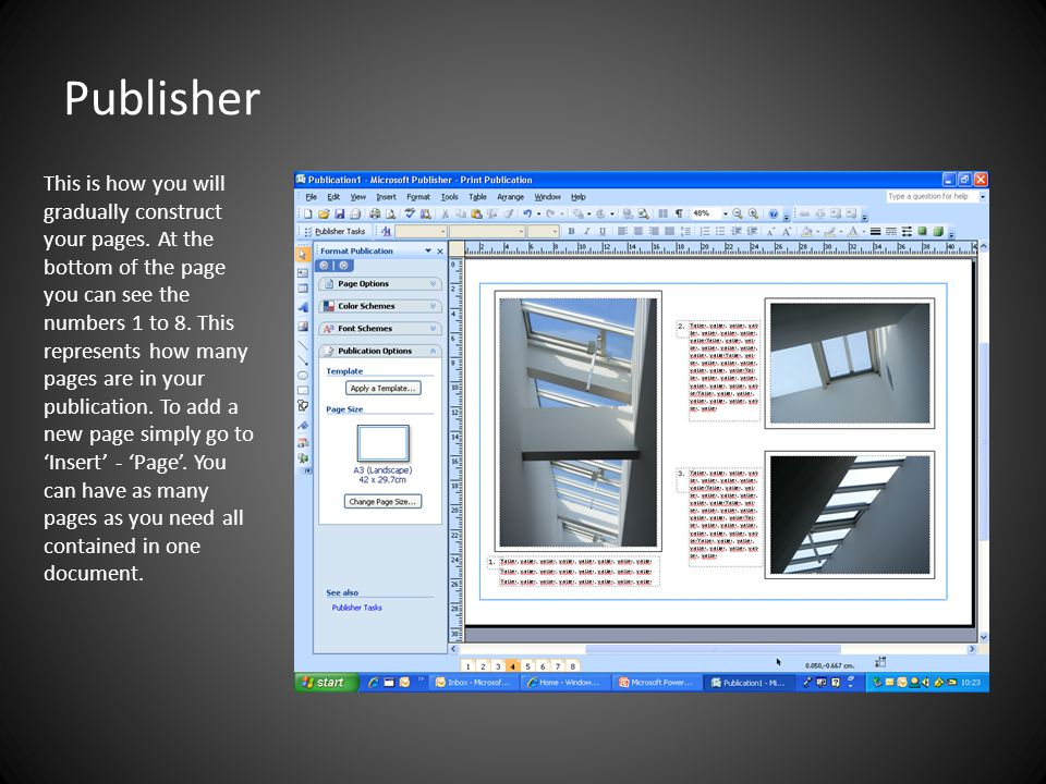 Publisher This is how you will gradually construct your pages.