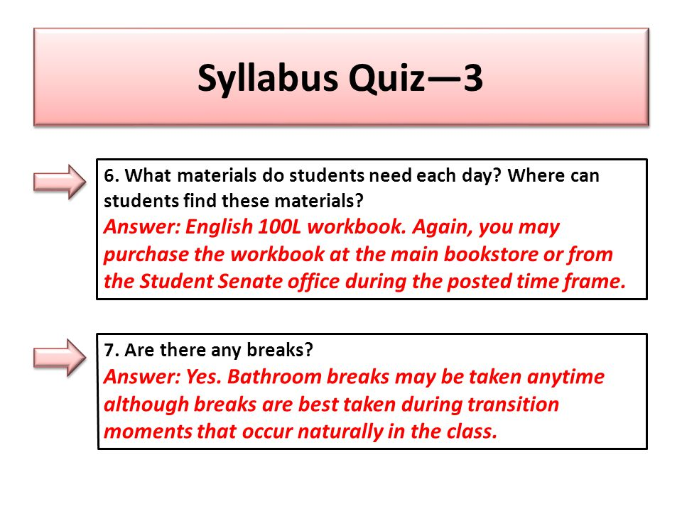 Syllabus Quiz—3 6. What materials do students need each day.