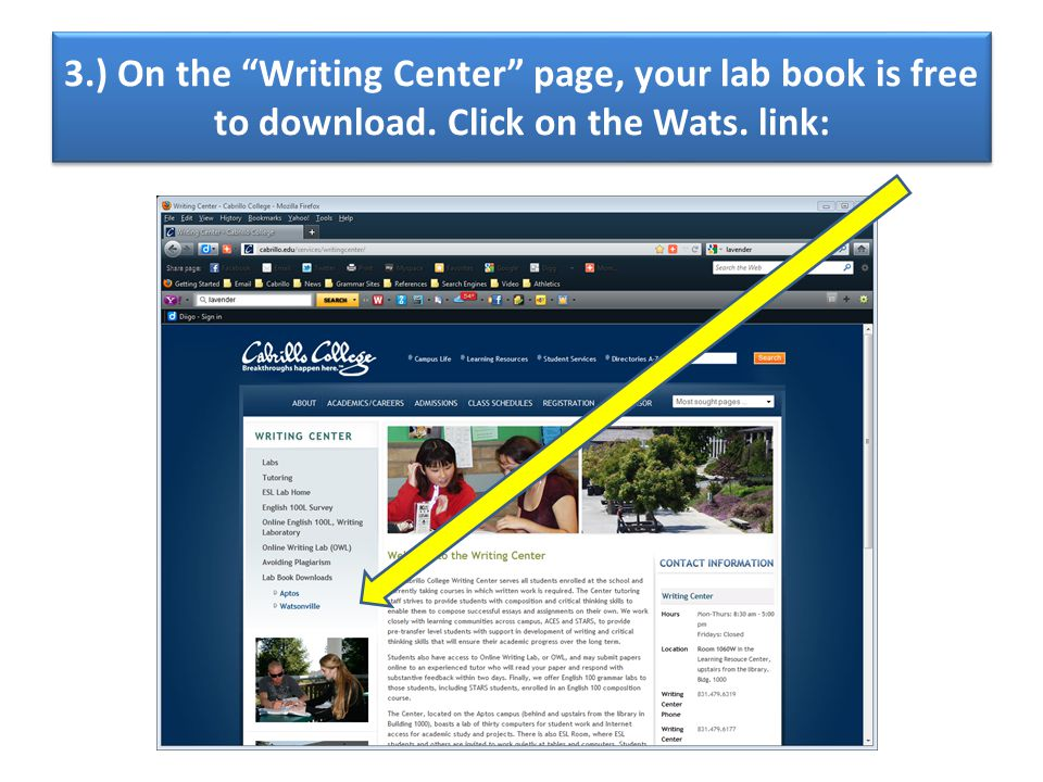 3.) On the Writing Center page, your lab book is free to download. Click on the Wats. link: