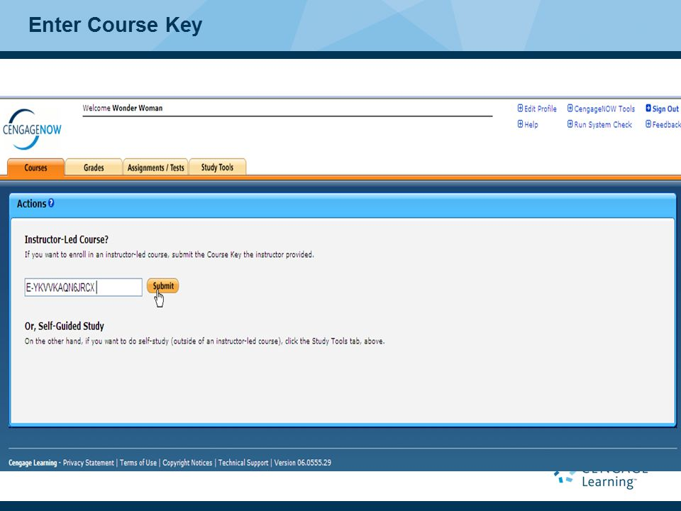 Enter Course Key