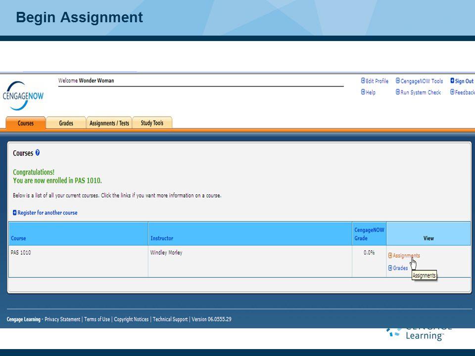 Begin Assignment