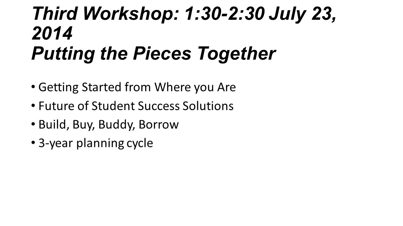 Third Workshop: 1:30-2:30 July 23, 2014 Putting the Pieces Together Getting Started from Where you Are Future of Student Success Solutions Build, Buy,
