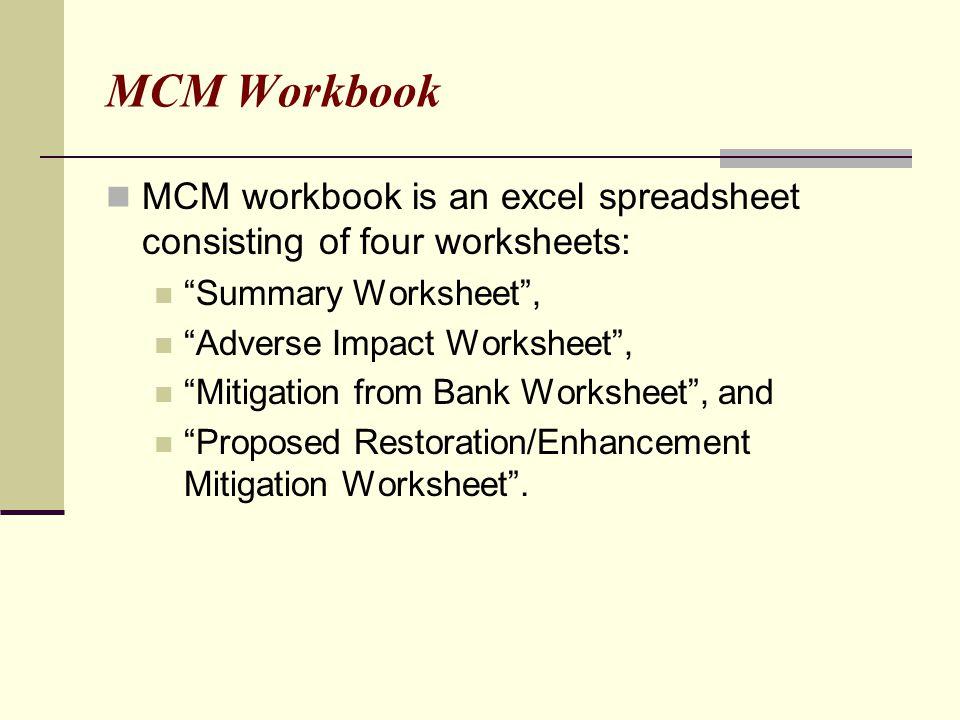 "MCM Workbook MCM workbook is an excel spreadsheet consisting of four worksheets: ""Summary Worksheet"", ""Adverse Impact Worksheet"", ""Mitigation from Ban"