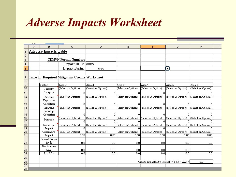 Adverse Impacts Worksheet