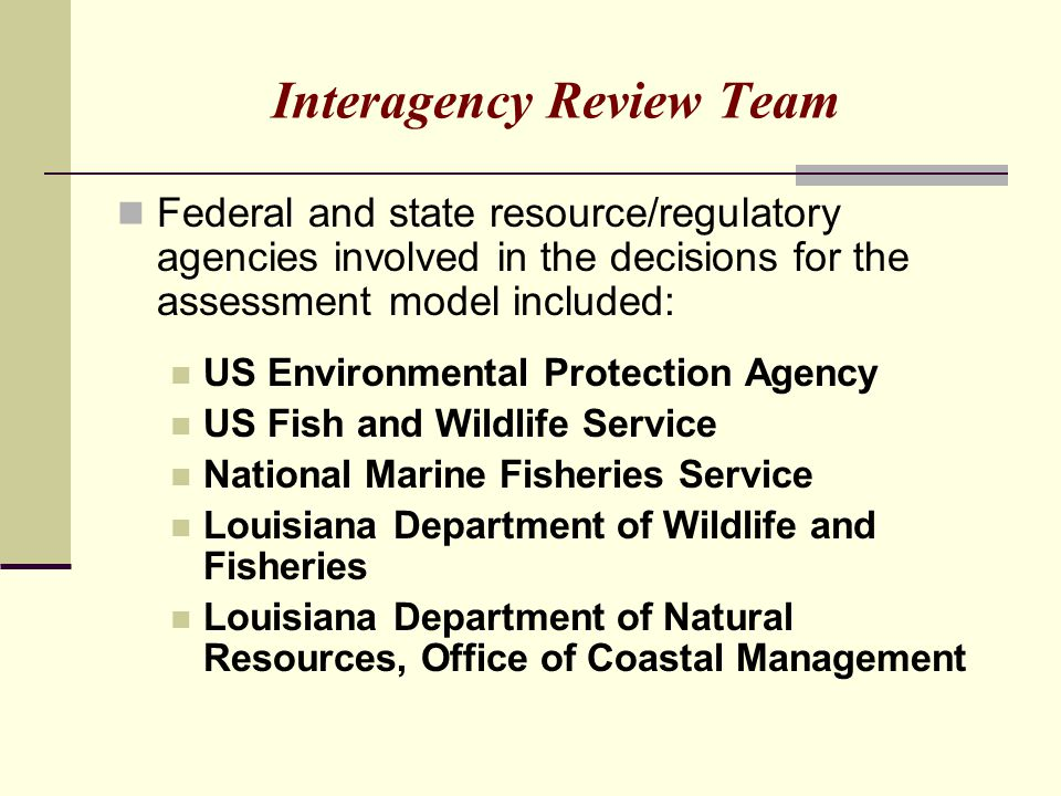 Interagency Review Team Federal and state resource/regulatory agencies involved in the decisions for the assessment model included: US Environmental P