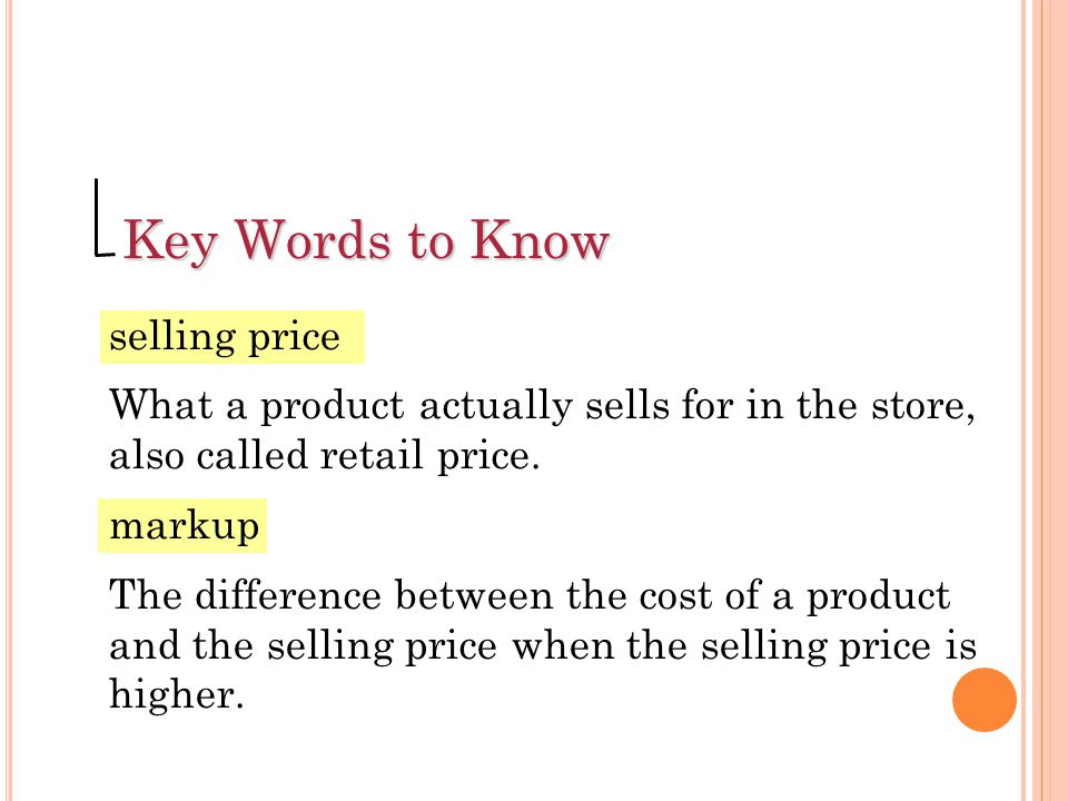 Key Words to Know net-profit rate The net profit on an item expressed as a percent of the selling price.