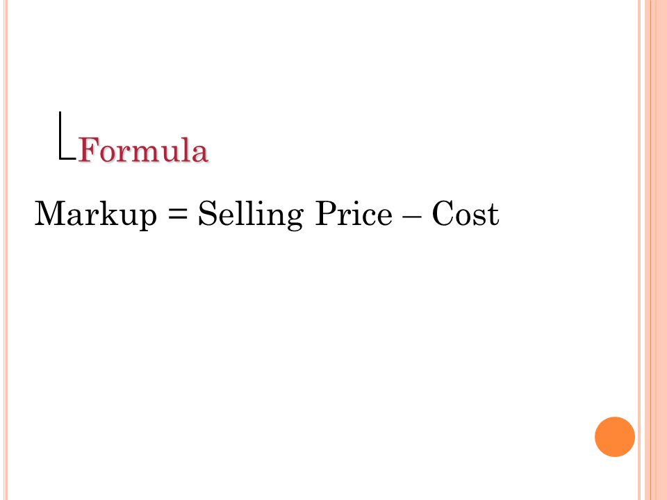 Sales for Month: $42,000Percent of Total Sales Cost of goods sold 25,20060% Overhead expenses 8,40020% Profit 8,400 20% TOTAL $42,000 100% (Note: Markup plus cost equals selling price.