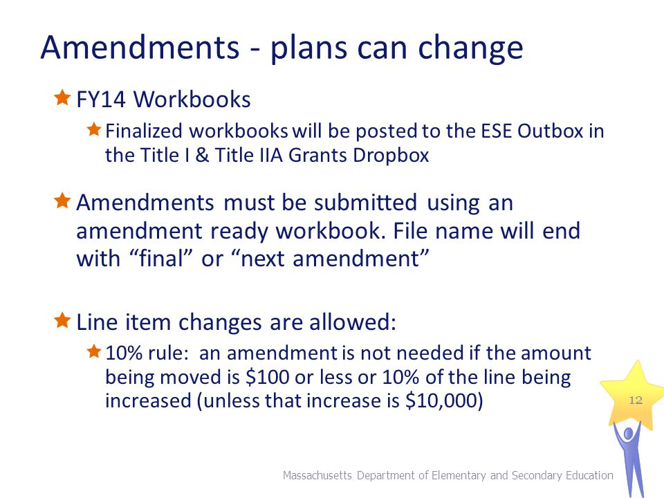 Amendments - plans can change  FY14 Workbooks  Finalized workbooks will be posted to the ESE Outbox in the Title I & Title IIA Grants Dropbox  Amendments must be submitted using an amendment ready workbook.