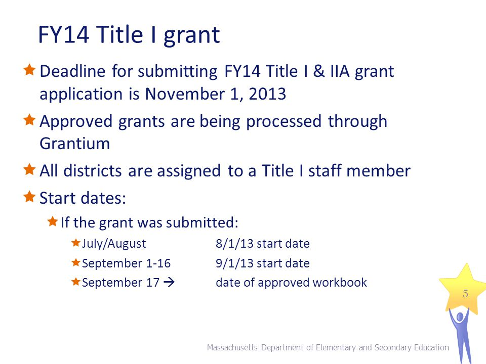 FY14 Title I grant  Deadline for submitting FY14 Title I & IIA grant application is November 1, 2013  Approved grants are being processed through Grantium  All districts are assigned to a Title I staff member  Start dates:  If the grant was submitted:  July/August 8/1/13 start date  September 1-169/1/13 start date  September 17  date of approved workbook Massachusetts Department of Elementary and Secondary Education 5