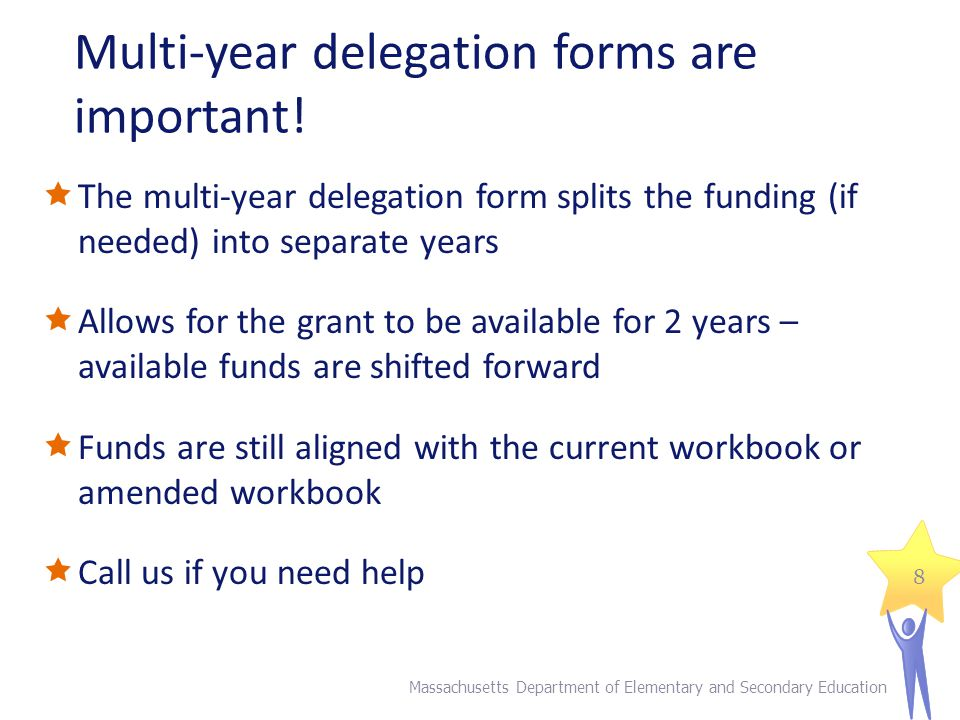 Multi-year delegation example FY14 Allocation: $100,000 Year 1 spending 8/1/13 to 6/30/14 = $90,000 *complete multi year delegation form in the spring* Year 2 spending 7/1/14 to 6/30/15 = $10,000 Complete FR1 within 60 days of final expenditures Massachusetts Department of Elementary and Secondary Education 9