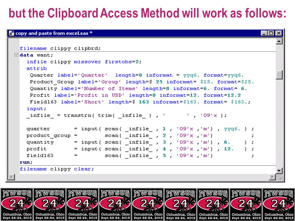 but the Clipboard Access Method will work as follows: