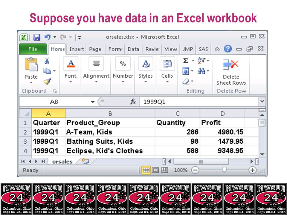 Suppose you have data in an Excel workbook