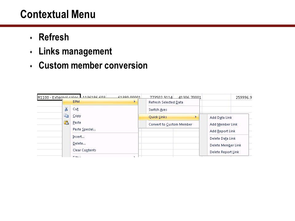 Contextual Menu  Refresh  Links management  Custom member conversion