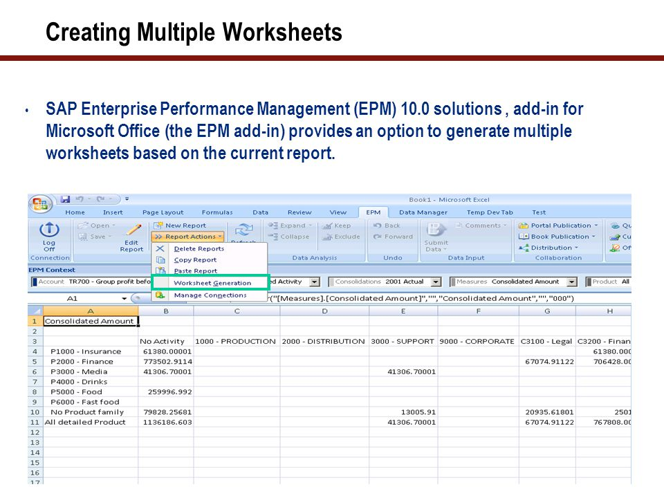Creating Multiple Worksheets SAP Enterprise Performance Management (EPM) 10.0 solutions, add-in for Microsoft Office (the EPM add-in) provides an opti