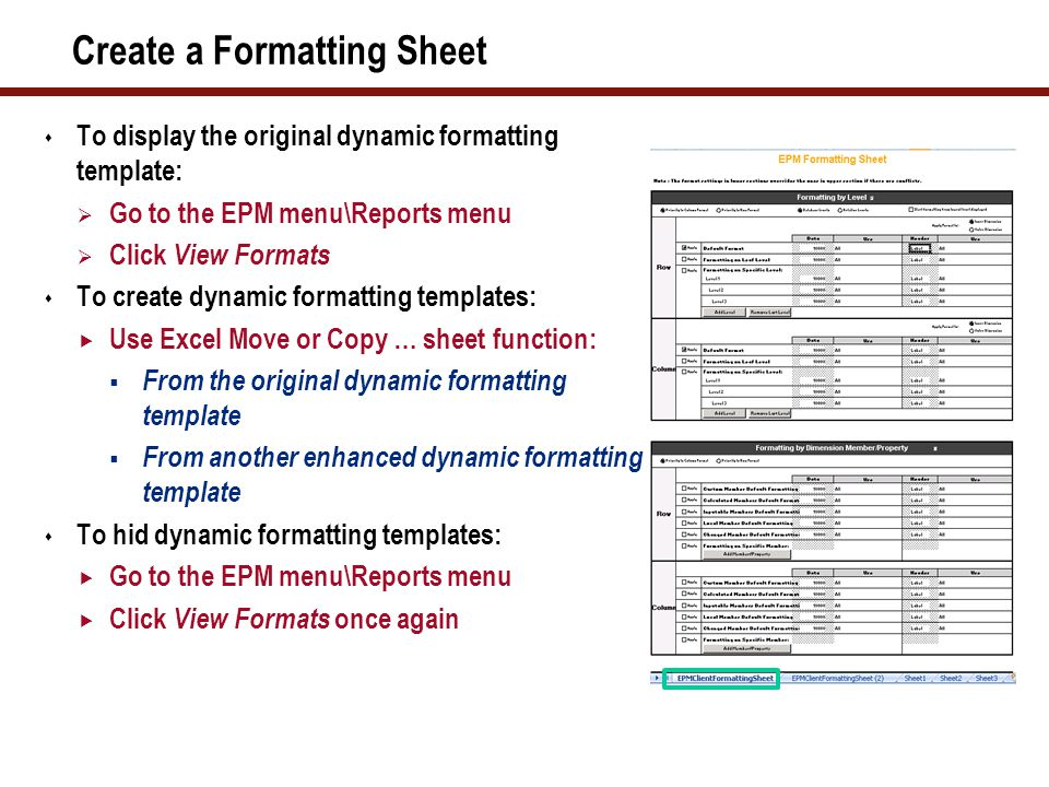 Create a Formatting Sheet  To display the original dynamic formatting template:  Go to the EPM menu\Reports menu  Click View Formats  To create dy