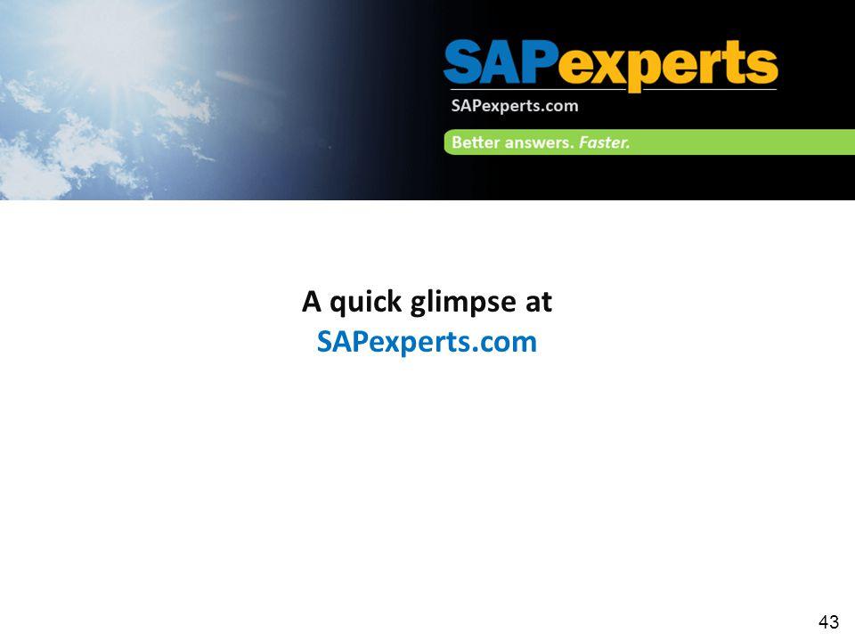 43 A quick glimpse at SAPexperts.com