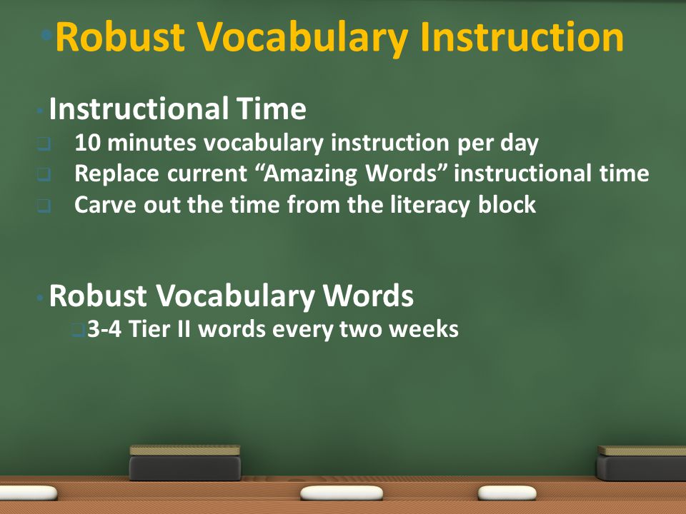 Instructional Time  10 minutes vocabulary instruction per day  Replace current Amazing Words instructional time  Carve out the time from the literacy block Robust Vocabulary Words  3-4 Tier II words every two weeks Robust Vocabulary Instruction
