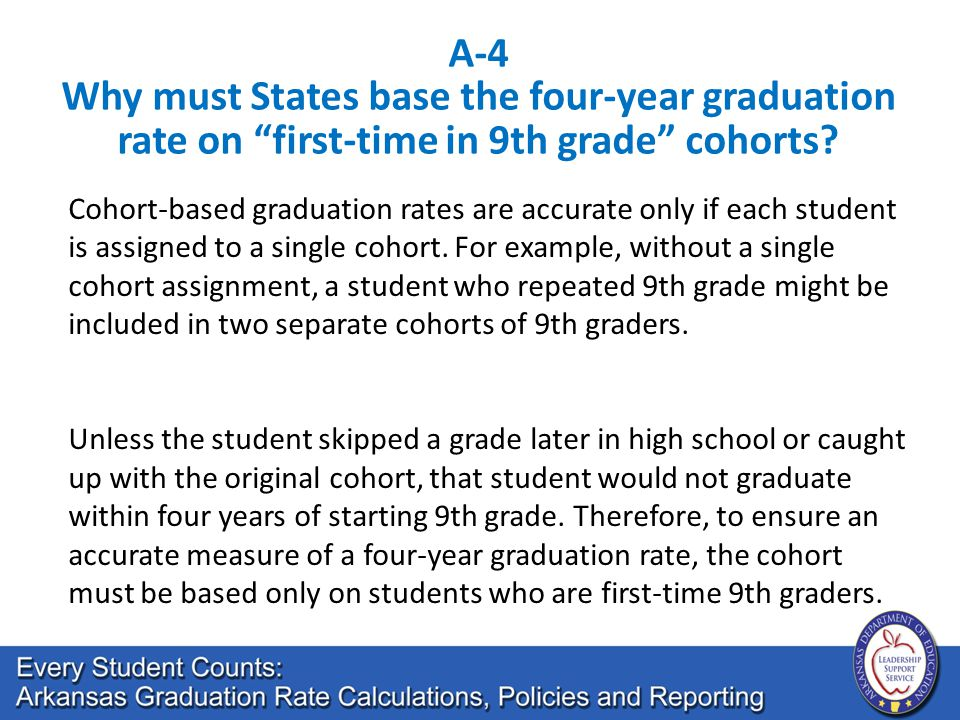 Cohort-based graduation rates are accurate only if each student is assigned to a single cohort. For example, without a single cohort assignment, a stu