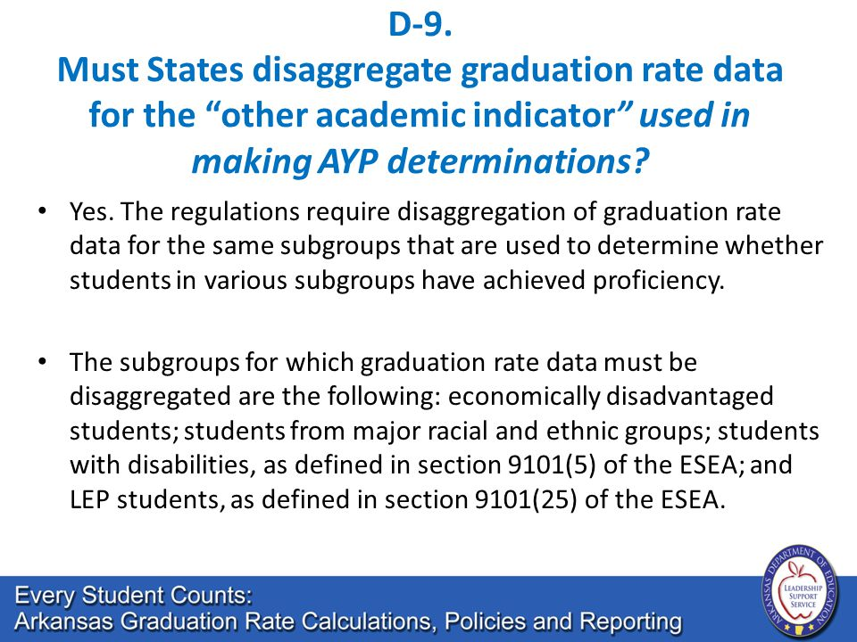 "D-9. Must States disaggregate graduation rate data for the ""other academic indicator"" used in making AYP determinations? Yes. The regulations require"