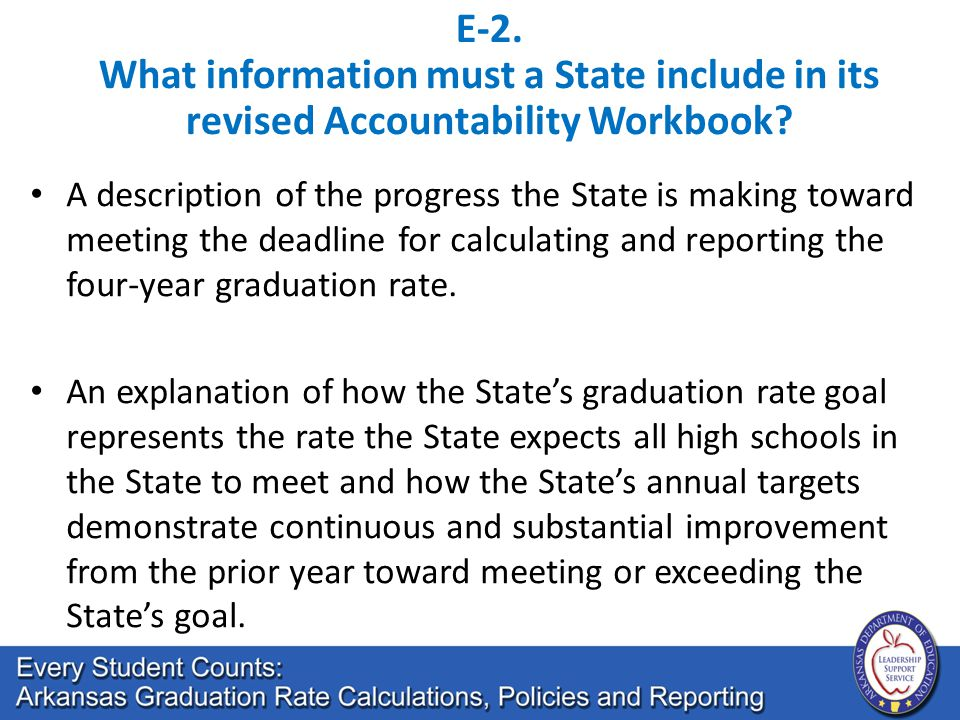 E-2. What information must a State include in its revised Accountability Workbook? A description of the progress the State is making toward meeting th