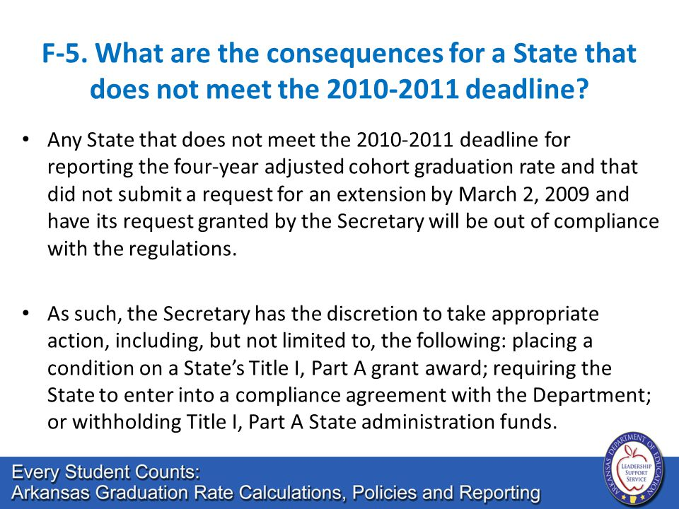 F-5. What are the consequences for a State that does not meet the 2010-2011 deadline? Any State that does not meet the 2010-2011 deadline for reportin