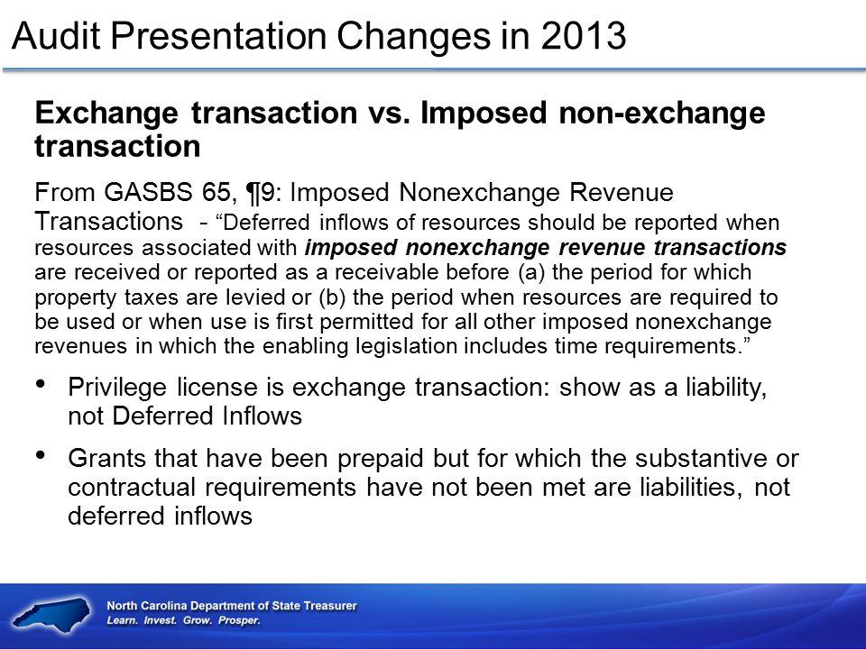Audit Presentation Changes in 2013 Exchange transaction vs. Imposed non-exchange transaction From GASBS 65, ¶9: Imposed Nonexchange Revenue Transactio