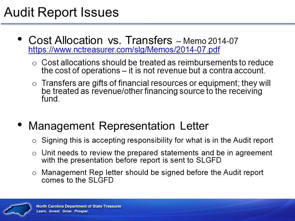 Audit Report Issues Cost Allocation vs. Transfers – Memo 2014-07 https://www.nctreasurer.com/slg/Memos/2014-07.pdf https://www.nctreasurer.com/slg/Mem