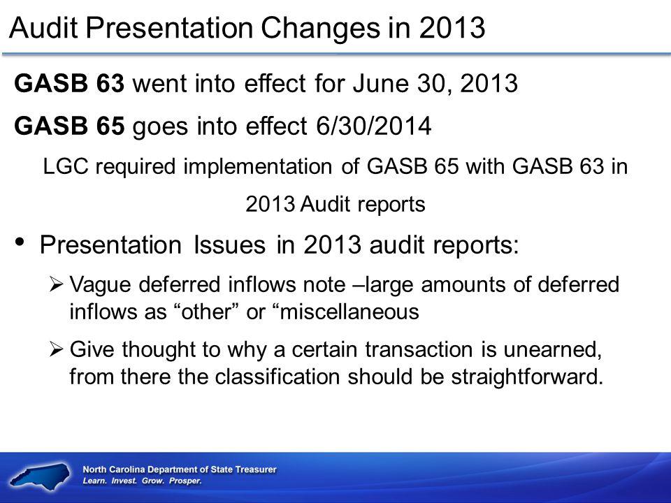 Audit Presentation Changes in 2013 Exchange transaction vs.