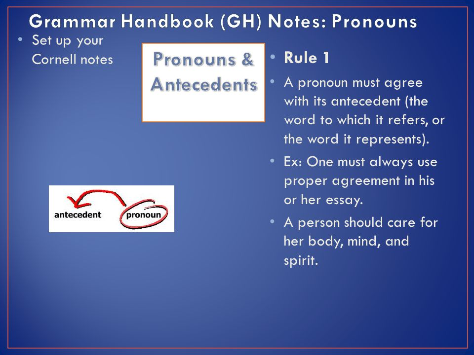 Set up your Cornell notes Rule 1 A pronoun must agree with its antecedent (the word to which it refers, or the word it represents).