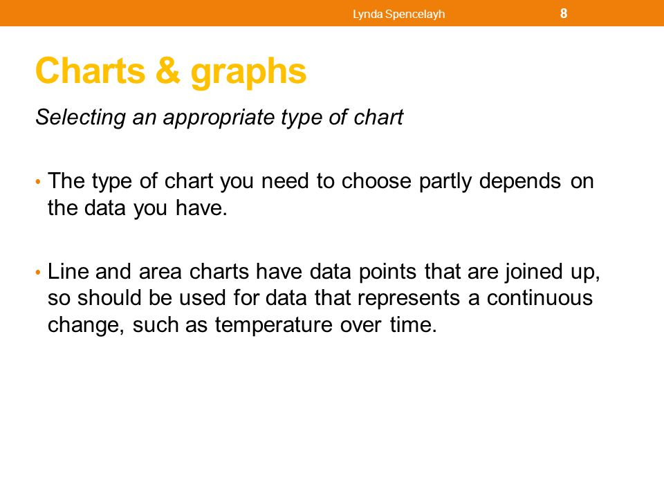 Column charts Column or bar charts are better for financial data, such as the data that is displayed Fig 27 Pie charts are good at representing proportions, such as the percentage of people who voted for each party at an election.