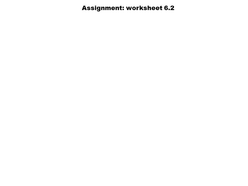 Assignment: worksheet 6.2