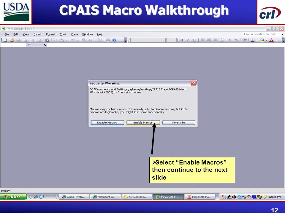 " Select ""Enable Macros"" then continue to the next slide CPAIS Macro Walkthrough 12"