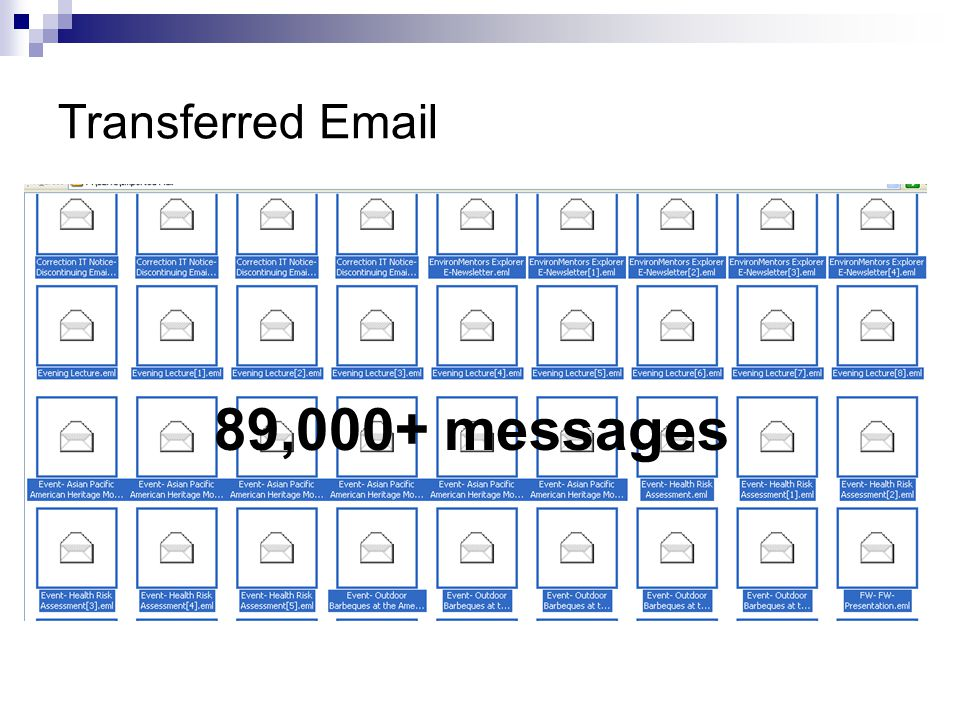Transferred Email 89,000+ messages