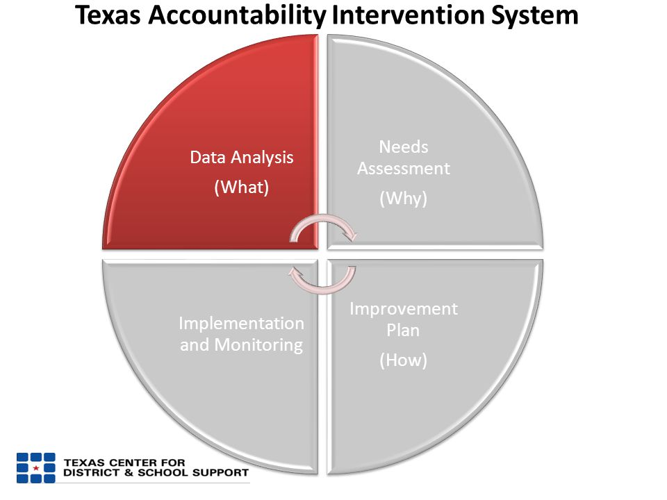 Data Analysis (What) Needs Assessment (Why) Improvement Plan (How) Implementation and Monitoring Texas Accountability Intervention System