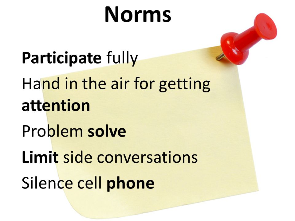 Participate fully Hand in the air for getting attention Problem solve Limit side conversations Silence cell phone Norms