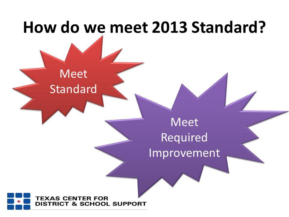 How do we meet 2013 Standard? Meet Standard Meet Required Improvement