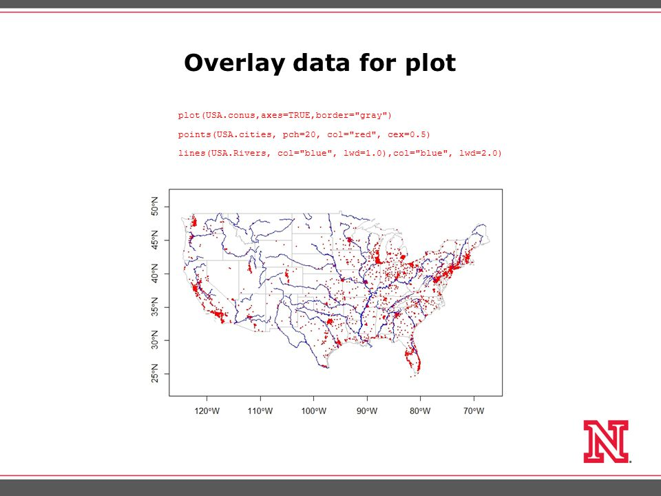 Overlay data for plot plot(USA.conus,axes=TRUE,border= gray ) points(USA.cities, pch=20, col= red , cex=0.5) lines(USA.Rivers, col= blue , lwd=1.0),col= blue , lwd=2.0)