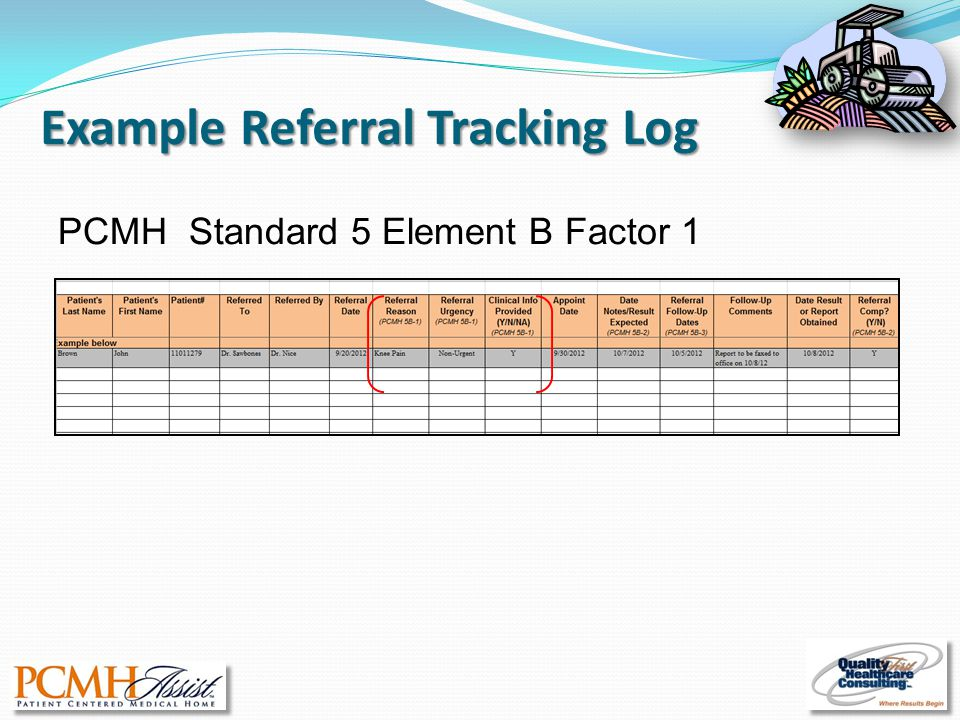 Example Referral Tracking Log PCMH Standard 5 Element B Factor 1