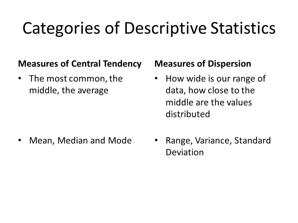 Categories of Descriptive Statistics Measures of Central Tendency The most common, the middle, the average Mean, Median and Mode Measures of Dispersion How wide is our range of data, how close to the middle are the values distributed Range, Variance, Standard Deviation