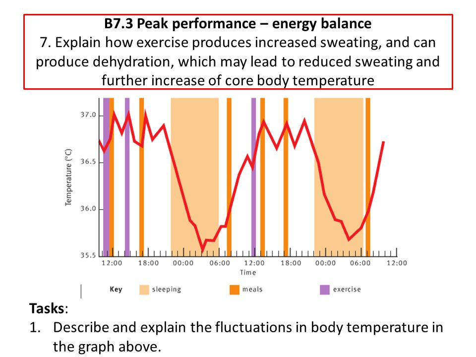 B7.3 Peak performance – energy balance 7. Explain how exercise produces increased sweating, and can produce dehydration, which may lead to reduced swe